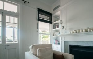 Charcoal Matchstick blinds in a period home