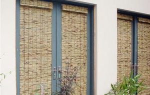 External Bamboo Blinds shading external french doors.