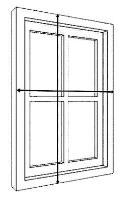 Drawing showing how to measure windows for face fixing blinds and curtains