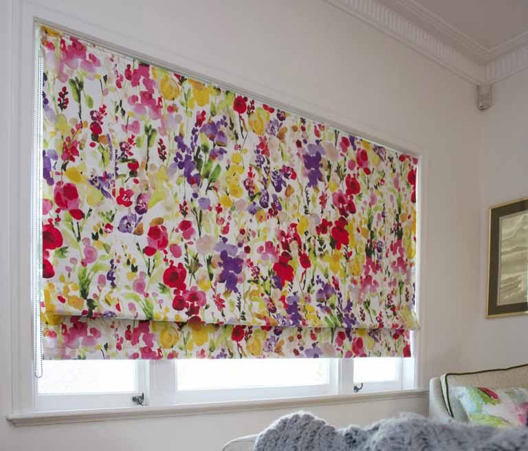 Roman blind made from designer fabric