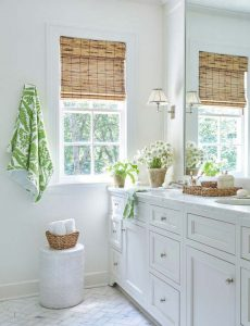 Tortoiseshell design bamboo blind in a bathroom