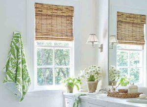 Photo of classic bamboo blinds installed in a bathroom