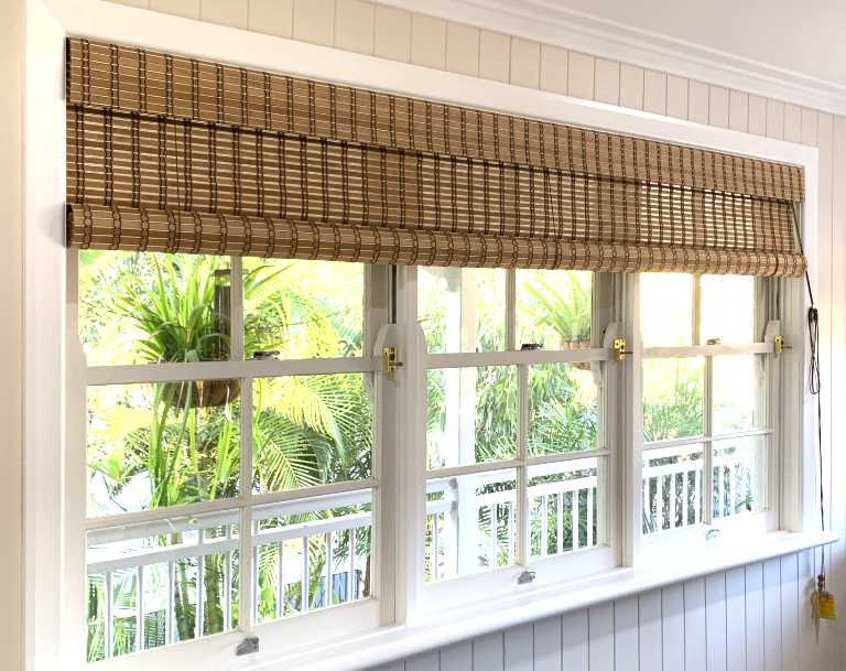 Custom Brown Combi Bamboo Blinds fitted to a period style window
