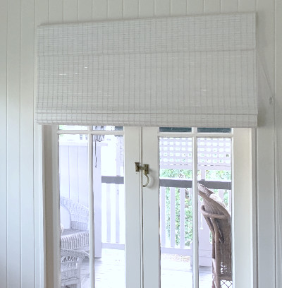 Custom Woven White Bamboo Blind Roman blind