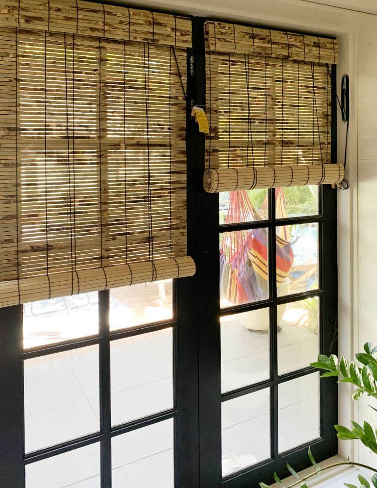 Black Stitch roll-up bamboo blinds fitted to French doors