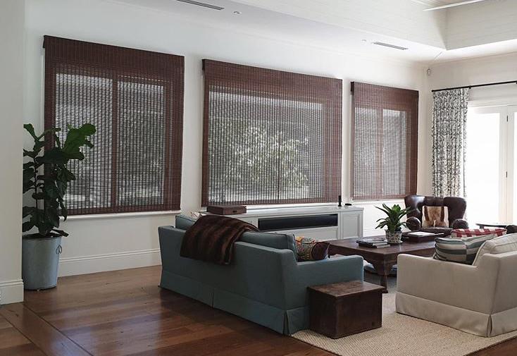 Custom made Brown Combi Walnut Roman bamboo blinds