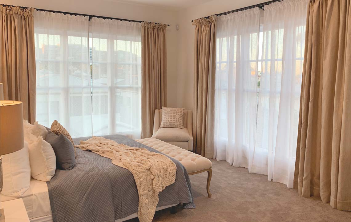 Custom made curtains for a bedroom