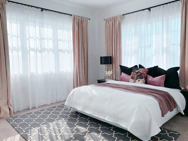Full-length custom bedroom curtains