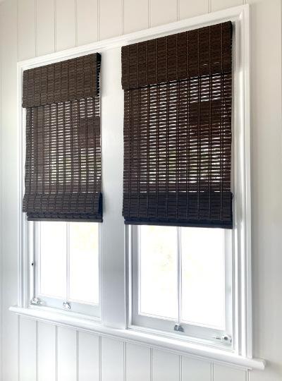 Custom made Brown Combi Walnut Roman Blind for a pair of windows