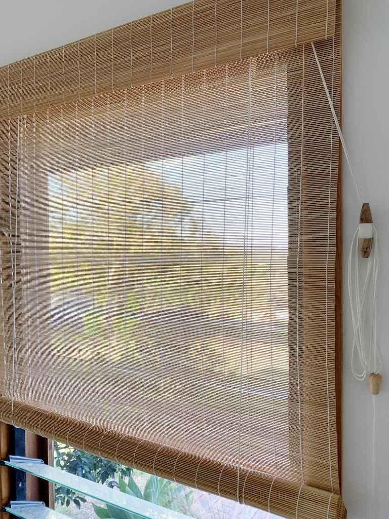 Custom made Matchstick bamboo natural roll up blind
