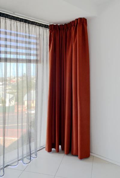 Made to measure Red velvet full length curtains for full length wide glass window