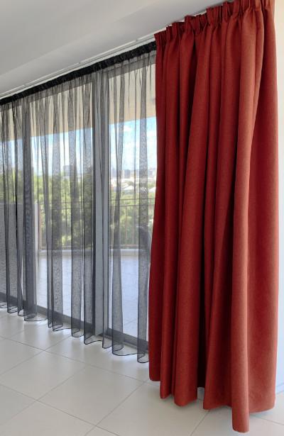 Custom Red velvet full length curtains fwith gunmetal grey sheers