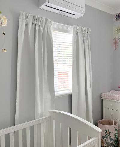Custom soft Grey Bedroom Curtains with Venetians