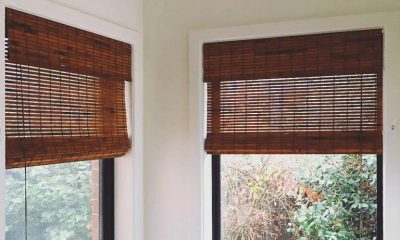 Classic bamboo blinds fitted to a bathroom