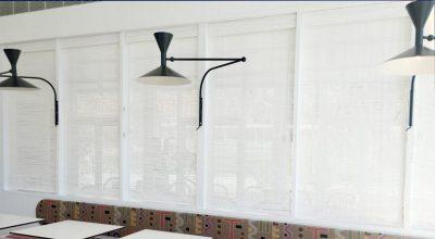 Custom Raw Bamboo White Screening blinds