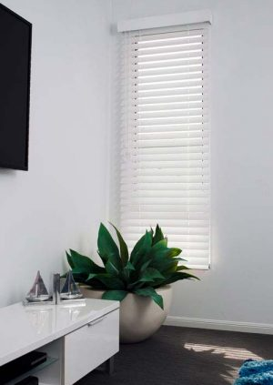 White timber Venetian blind filtering light in a living room